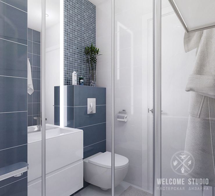 Minimalist style bathroom by Мастерская дизайна Welcome Studio Minimalist