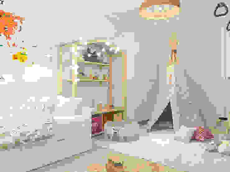 Трёхкомнатная квартира «Fresh Color» в г. Нижний Новгород Детская комнатa в скандинавском стиле от Мастерская дизайна Welcome Studio Скандинавский
