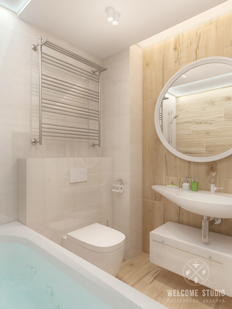 Трёхкомнатная квартира «Fresh Color» в г. Нижний Новгород Ванная комната в скандинавском стиле от Мастерская дизайна Welcome Studio Скандинавский