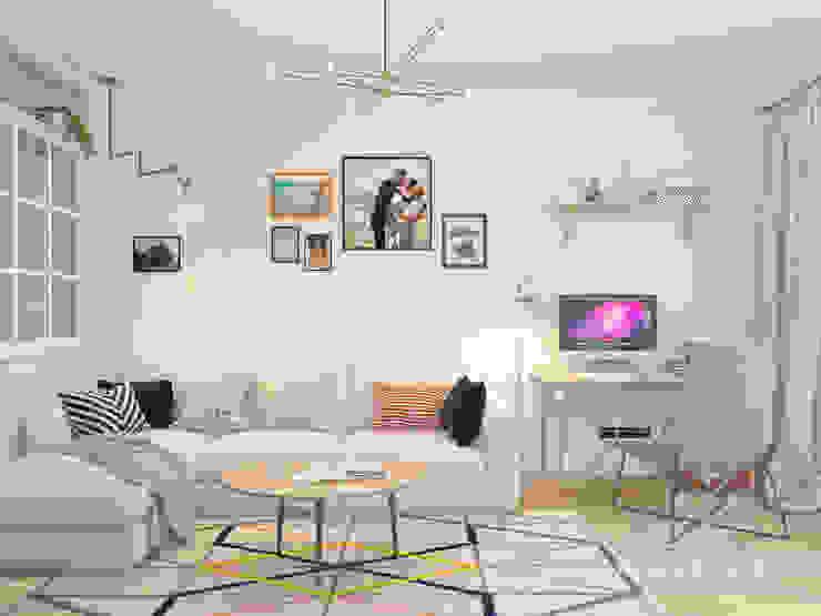 Salones de estilo escandinavo de Мастерская дизайна Welcome Studio Escandinavo