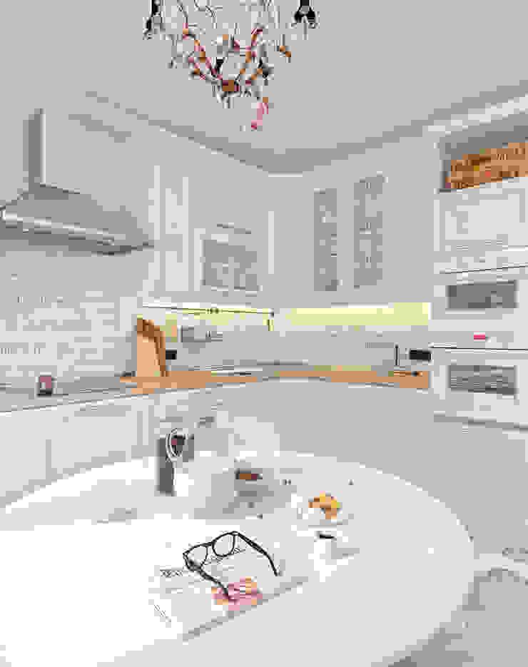 Четырёхкомнатная квартира в Москве «Scandinavian Breath» Кухня в скандинавском стиле от Мастерская дизайна Welcome Studio Скандинавский