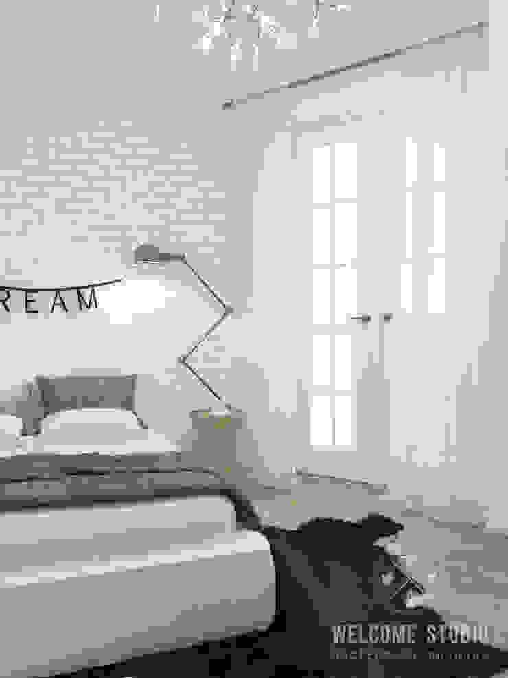 Четырёхкомнатная квартира в Москве «Scandinavian Breath» Спальня в скандинавском стиле от Мастерская дизайна Welcome Studio Скандинавский