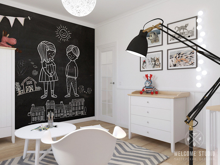 Cuartos infantiles de estilo escandinavo de Мастерская дизайна Welcome Studio Escandinavo