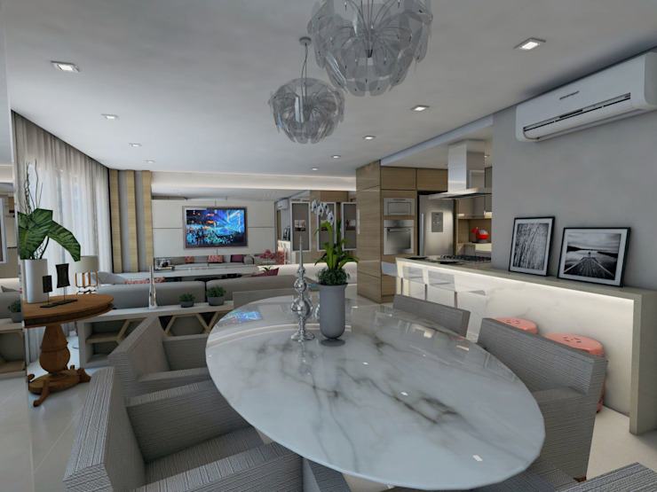 Projeto F & M Salas de jantar modernas por Ricardo Cavichioni Arquitetura Moderno