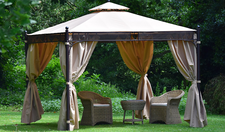 Mayfair Gazebo by Weaves featured with Weaves Blenheim Bistro Set Giardino moderno di Weaves Interiors & Outdoors Moderno Metallo