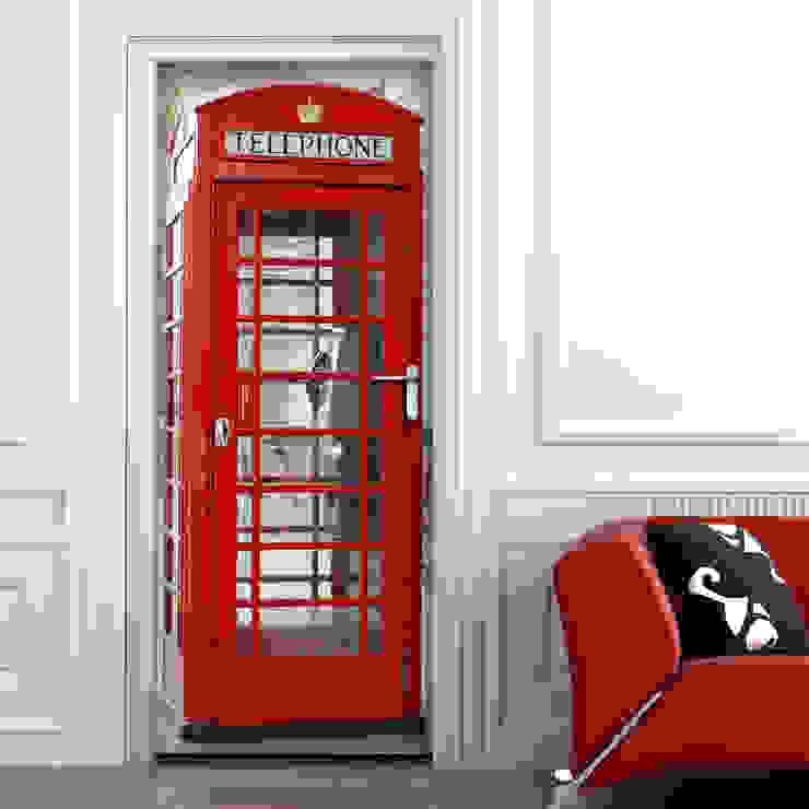 Crearreda Ventanas y puertasPuertas Compuestos de madera y plástico Rojo