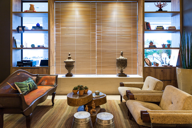 Jean Felix Arquitetura Living roomFireplaces & accessories Wood Brown