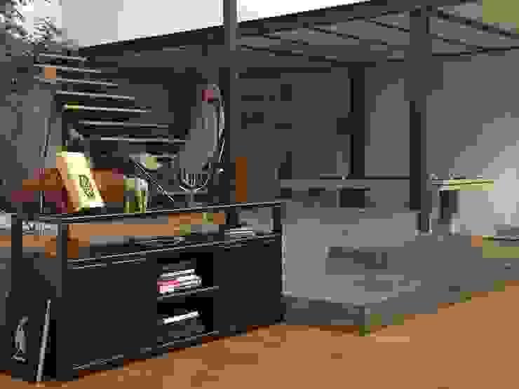 Meuble en acier sur mesure -Meuble style industriel Salon industriel par MICHELI Design Industriel Métal