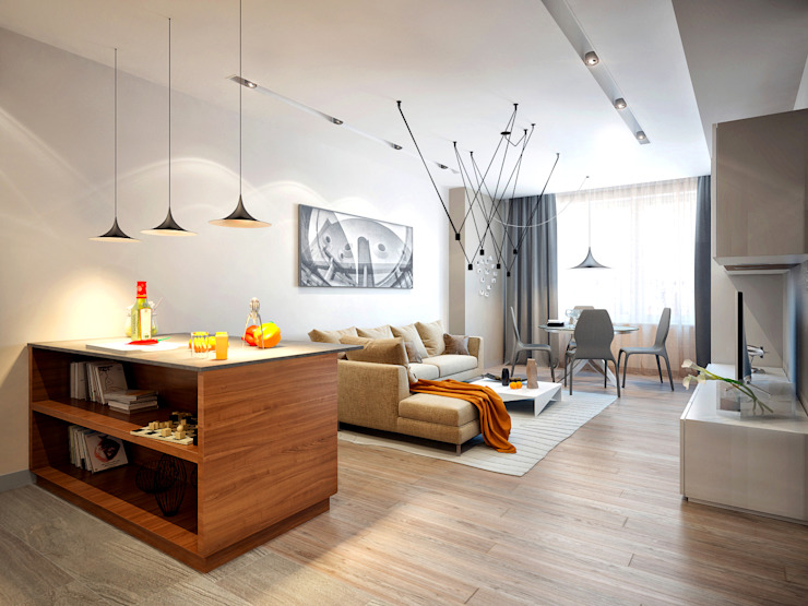 Квартира на Ленинградском шоссе Гостиная в стиле минимализм от Михаил Новинский (MNdesign) Минимализм