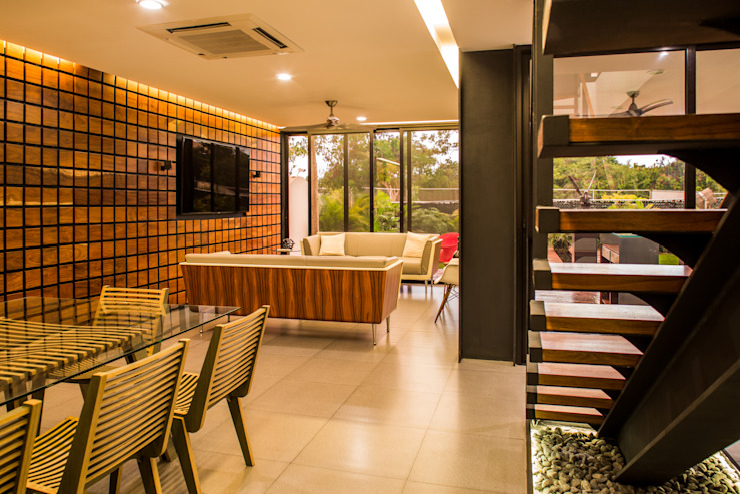 OM Salones modernos de FGO Arquitectura Moderno Madera maciza Multicolor