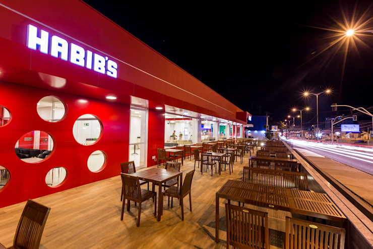 Habib's Bancários Varandas, alpendres e terraços modernos por Martins Lucena Arquitetos Moderno