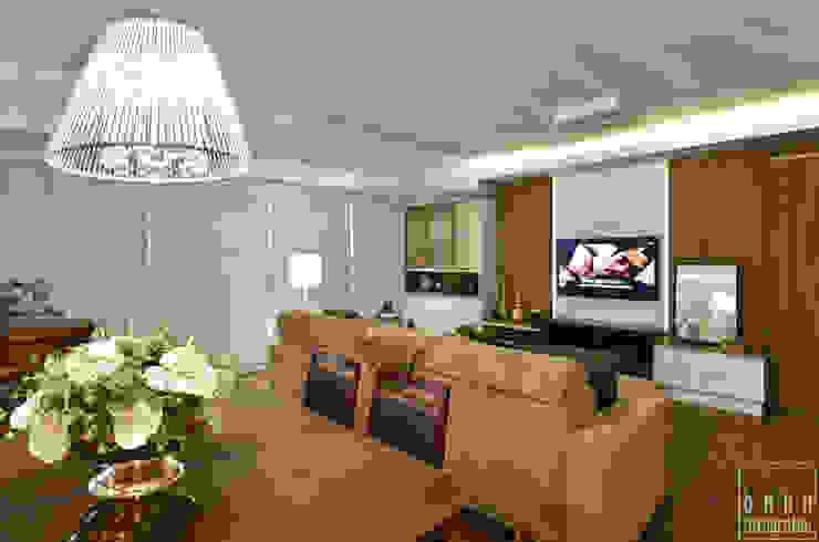 JANTAR INTEGRADO Salas de estar rústicas por LizRibeiro Arquitetura Rústico Madeira Efeito de madeira