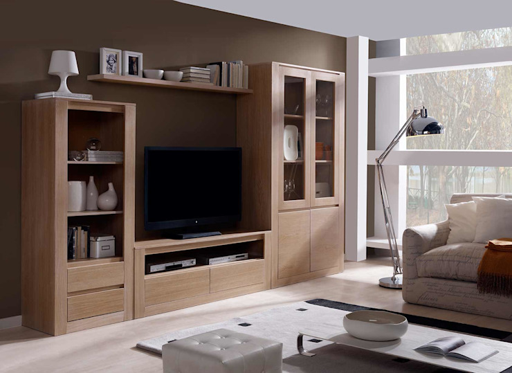 Demarques.es Modern living room لکڑی Wood effect