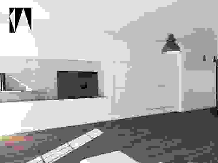 Salon i garderoba w jednym Minimalistyczny salon od Katarzyna Wnęk Minimalistyczny