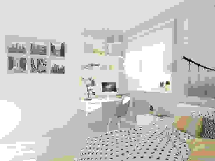 Студия-квартира для творческой пары Рабочий кабинет в стиле минимализм от OK Interior Design Минимализм