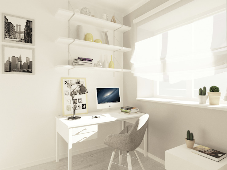 Студия-квартира для творческой пары Рабочий кабинет в стиле модерн от OK Interior Design Модерн
