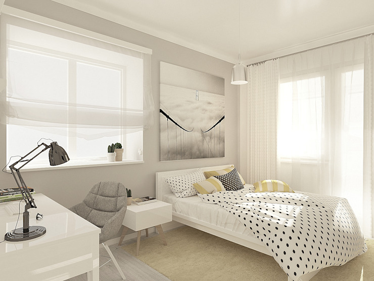 OK Interior Design Minimalist bedroom Grey