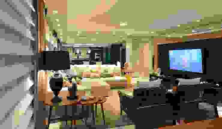 Apartamento Orla Marítima Salas de estar modernas por ANNA MAYA ARQUITETURA E ARTE Moderno Pele Cinza