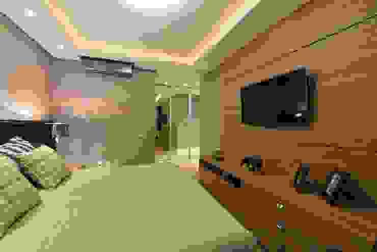 Apartamento Orla Marítima Quartos modernos por ANNA MAYA ARQUITETURA E ARTE Moderno Madeira Efeito de madeira
