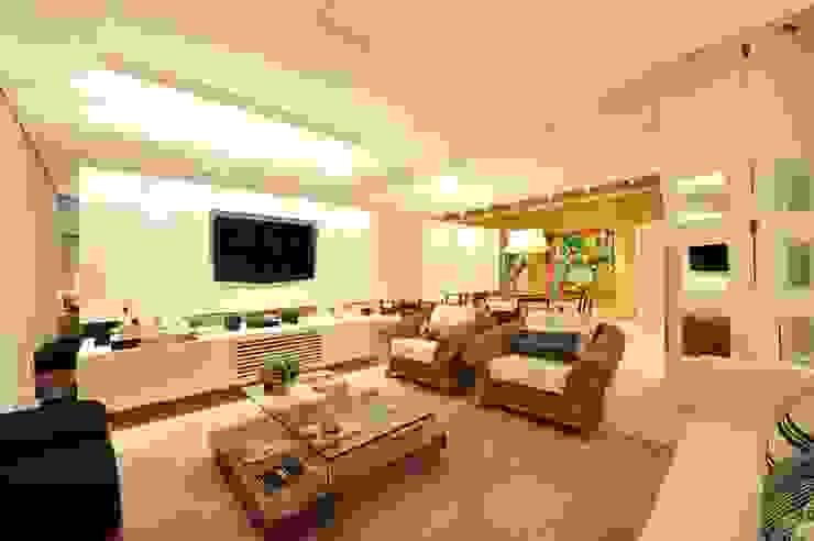 Apartamento Águas do Santinho Salas de estar modernas por ANNA MAYA ARQUITETURA E ARTE Moderno Sisal/palha Azul