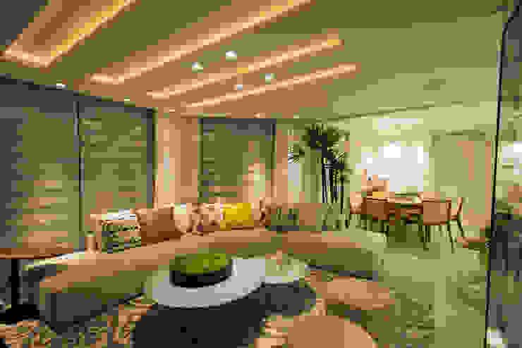 Apartamento Bocaiúva Salas de estar modernas por ANNA MAYA ARQUITETURA E ARTE Moderno Têxtil Ambar/dourado