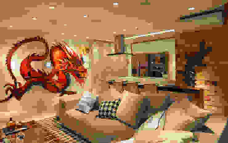Loft Marine Home Resort Cozinhas rústicas por ANNA MAYA ARQUITETURA E ARTE Rústico Vidro
