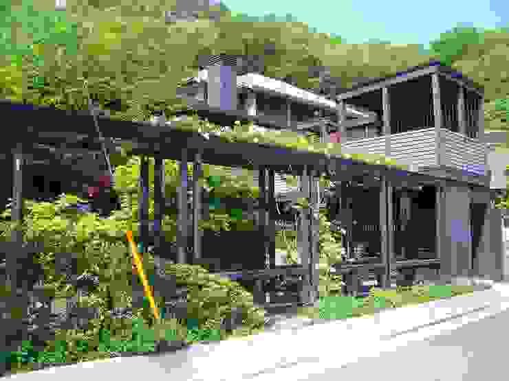パーゴラ。 オリジナルな 家 の 酒井光憲・環境建築設計工房 オリジナル 木 木目調