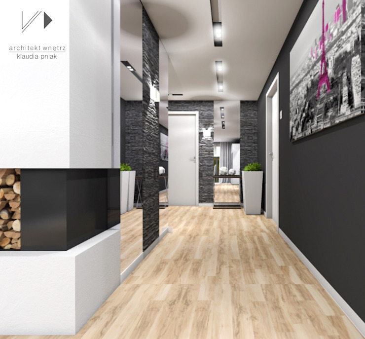 Modern corridor, hallway & stairs by Architekt wnętrz Klaudia Pniak Modern