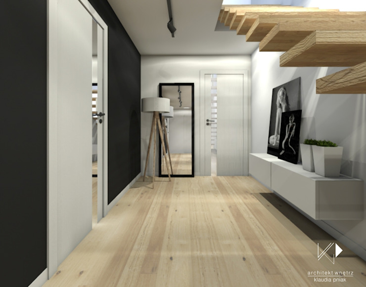 Przedpokój Nowoczesny korytarz, przedpokój i schody od Architekt wnętrz Klaudia Pniak Nowoczesny