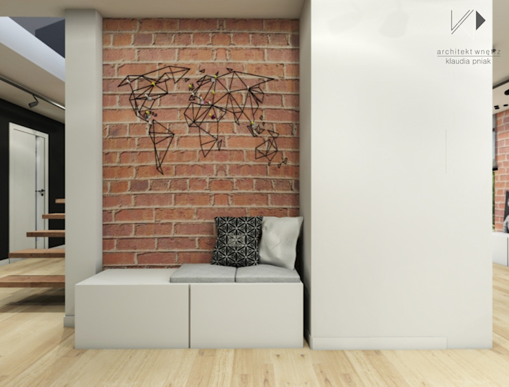 Przedpokój z mapą świata Nowoczesny korytarz, przedpokój i schody od Architekt wnętrz Klaudia Pniak Nowoczesny