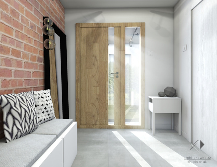 Wiatrołap Nowoczesny korytarz, przedpokój i schody od Architekt wnętrz Klaudia Pniak Nowoczesny