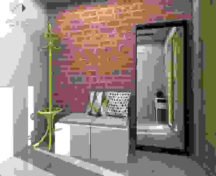 Wiatrołap z żółtym wieszakiem... Nowoczesny korytarz, przedpokój i schody od Architekt wnętrz Klaudia Pniak Nowoczesny