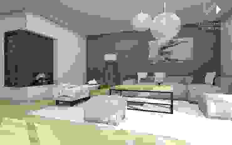 Salon w betonie Nowoczesny salon od Architekt wnętrz Klaudia Pniak Nowoczesny