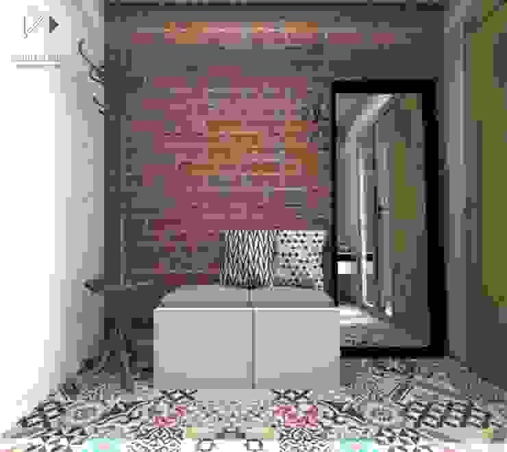 Wiatrołap w kolorowym wydaniu... Nowoczesny korytarz, przedpokój i schody od Architekt wnętrz Klaudia Pniak Nowoczesny