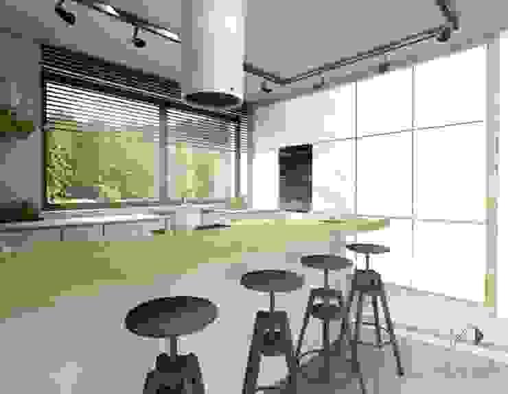 Biel i drewno w kuchni Nowoczesna kuchnia od Architekt wnętrz Klaudia Pniak Nowoczesny