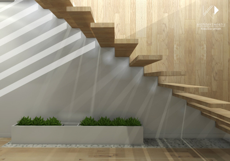 Schody Nowoczesny korytarz, przedpokój i schody od Architekt wnętrz Klaudia Pniak Nowoczesny