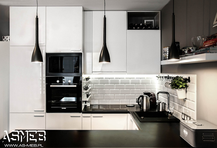 AS-MEB Scandinavian style kitchen MDF White