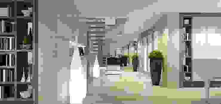 Интерьер двухуровневой квартиры, Швейцария, Локарно Коридор, прихожая и лестница в эклектичном стиле от LOFTING Эклектичный