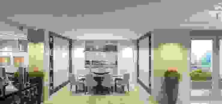 Интерьер двухуровневой квартиры, Швейцария, Локарно Столовая комната в эклектичном стиле от LOFTING Эклектичный