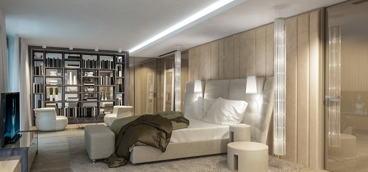 Интерьер двухуровневой квартиры, Швейцария, Локарно Спальня в эклектичном стиле от LOFTING Эклектичный