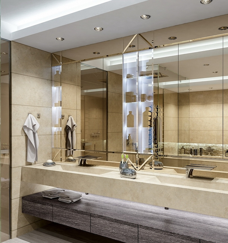 Интерьер двухуровневой квартиры, Швейцария, Локарно Ванная комната в эклектичном стиле от LOFTING Эклектичный