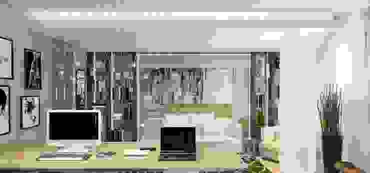 Интерьер двухуровневой квартиры, Швейцария, Локарно Рабочий кабинет в эклектичном стиле от LOFTING Эклектичный
