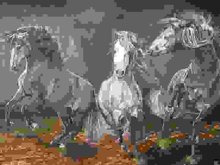 Lusitano's explosion van www.paardenschilderijen.com Klassiek