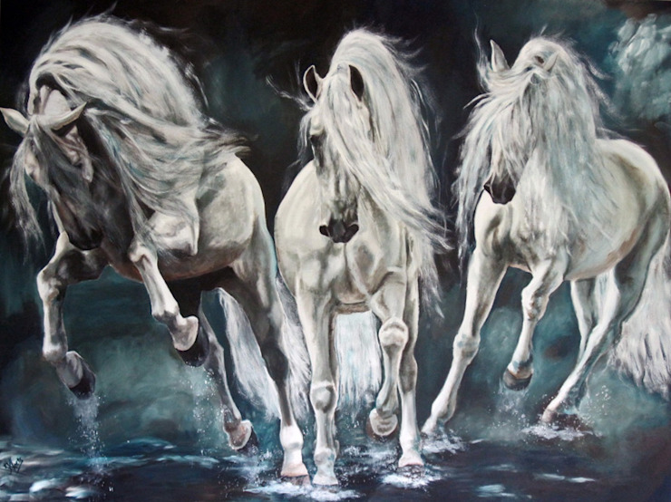 Lusitano's in het water van www.paardenschilderijen.com Klassiek
