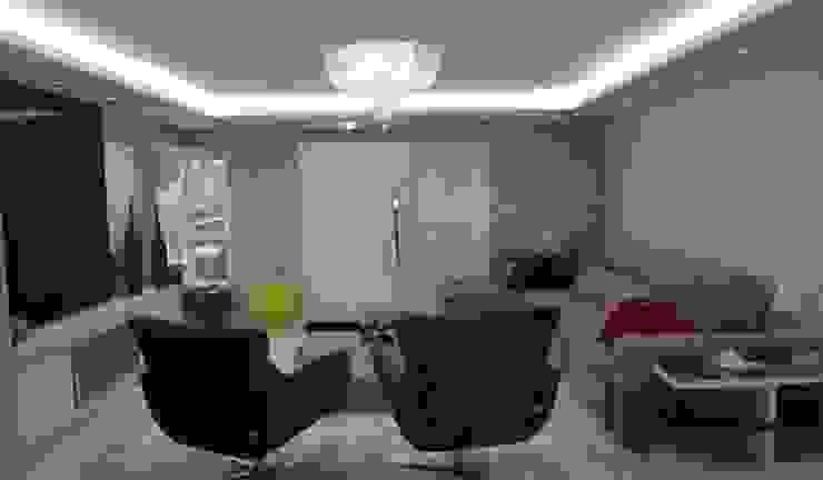 Iluminação e gesso Ésse Arquitetura e Interiores Salas de estar modernas