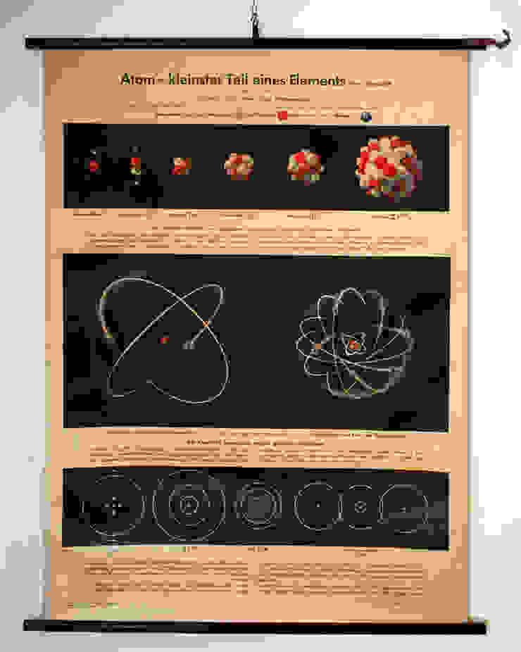 Vintage school kaart Atom van Smeerling Antiek & Restauratie Industrieel