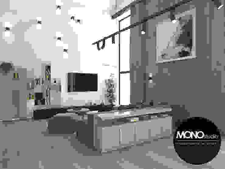 Salas de estar  por MONOstudio, Moderno Compósito de madeira e plástico