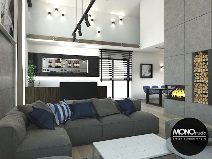 Nowoczesny dom Nowoczesny salon od MONOstudio Nowoczesny Kompozyt drewna i tworzywa sztucznego