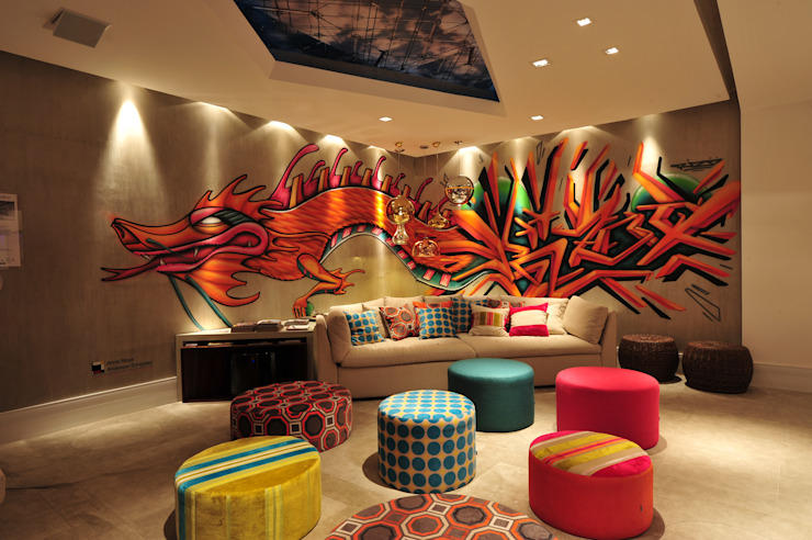 Modern style media rooms by ANNA MAYA ARQUITETURA E ARTE Modern Textile Amber/Gold