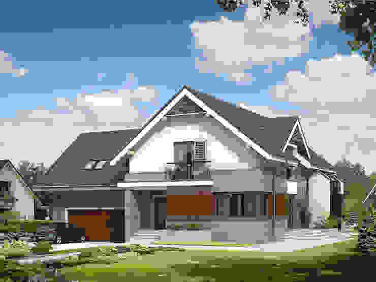 Elewacja frontowa projektu Jaspis 6 Nowoczesne domy od Biuro Projektów MTM Styl - domywstylu.pl Nowoczesny